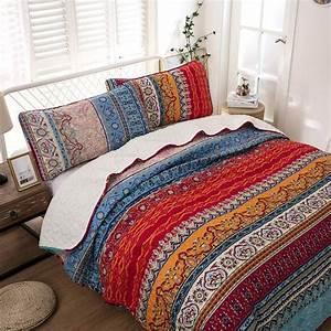 Bohemian, Quilt, Set, King, Boho, Striped, Pattern, Printed