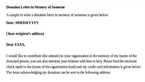 sample donation letters sample templates
