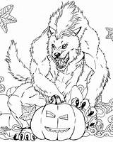 Coloring Pages Werewolf Scary Monster Halloween Sheets sketch template