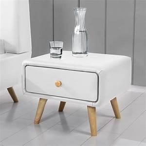 Pied Table Scandinave : table de chevet scandinave blanc 1 tiroirs 4 pieds en bois scandi ~ Teatrodelosmanantiales.com Idées de Décoration
