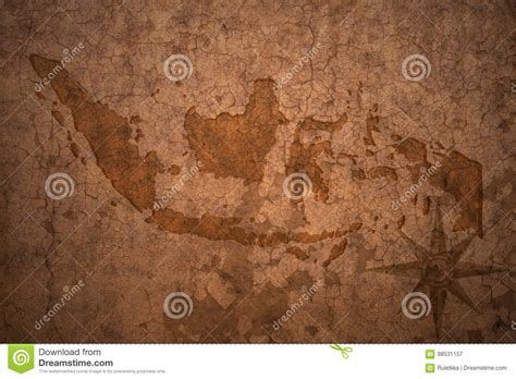 indonesia map  vintage paper background stock image