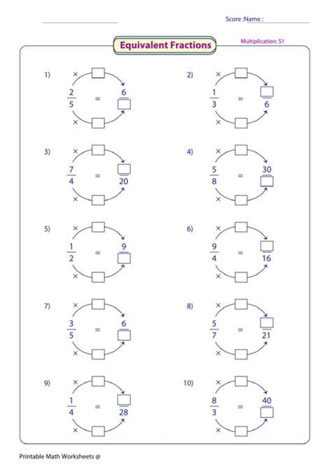 equivalent fractions worksheet printable
