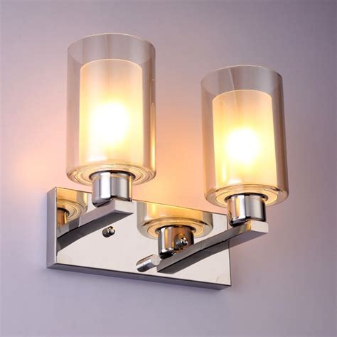 modern glass shade indoor wall light with chrome stainless