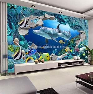 Underwater World Photo Wallpaper Custom 3D Wall Murals ...