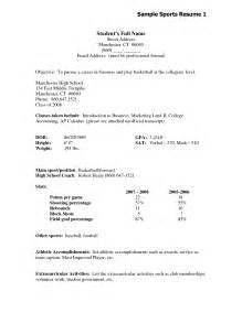Athletic Resume Template by High School Sports Resume Template Resume Cover Letter Exle