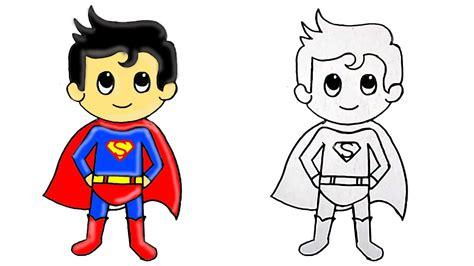 draw superhero superman cute step  step youtube