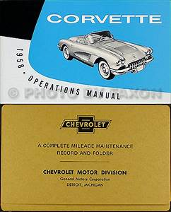 1958 Corvette Owners Manual With Envelope 58 Owner Guide