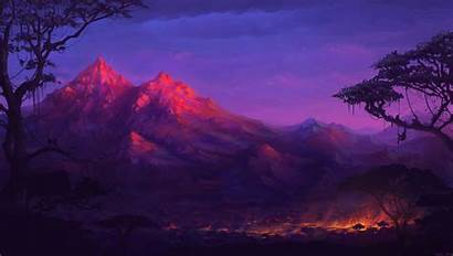 4k Fantasy Forest Colorful Night Mountains Digital
