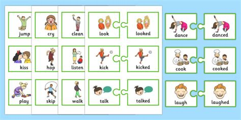 regular  tense verb jigsaws teacher