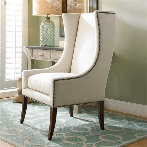 Modern Upholstered Living Room Chairs by Modern Wing Chair W Nailhead Trimthis Sleek Accent Chair