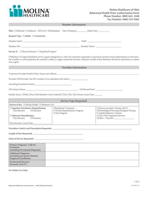 health options prior authorization form fillable molina behavioral health prior authorization form