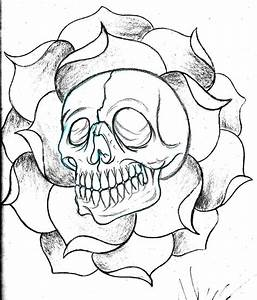 custom skull and flower sketch by deeperthanyou on DeviantArt