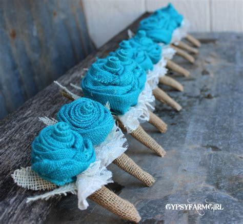 gypsyfarmgirl turquoise burlap  lace wedding bouquets