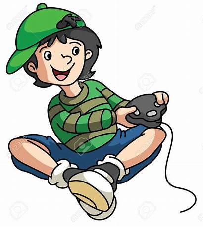 Gamer Xbox Boy Clipart Vector Playing Cartoon