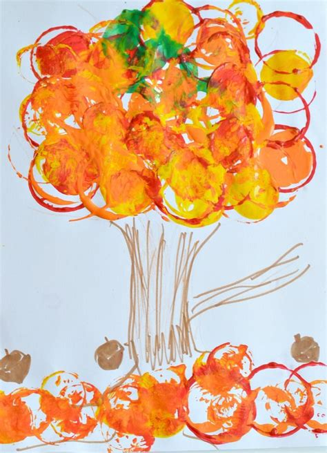 fall art projects  kids easy fall tree printing