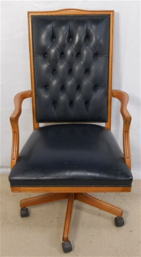 vintage occasional chairs leather upholstered wooden frame swivel office armchair 3251