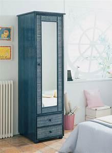 Miroir Adhésif Pour Porte : armoire 1 porte miroir en rotin brin d 39 ouest ~ Melissatoandfro.com Idées de Décoration