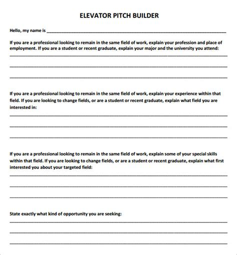 sample elevator pitch template   documents