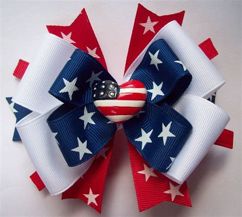 4th Of July Red White And Blue Hair Bow By