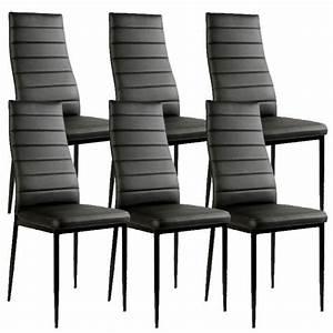 Chaise noir giga matelassee lot de 6 achat vente chaise for Meuble salle À manger avec chaise salle a manger pas cher lot de 6