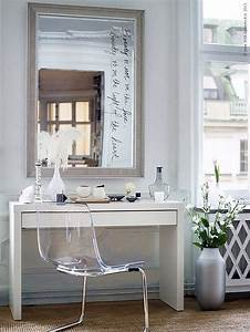 IKEA Micke Desk As Makeup Vanity With Large Mirror And