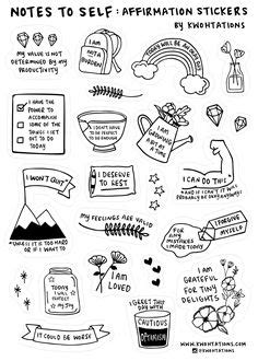 Self Care Sticker Sheet in 2020 | Aesthetic stickers