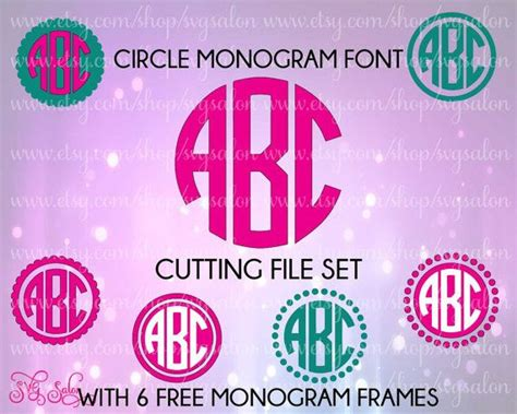 circle monogram font letters  set     svgsalon  monogram fonts cricut