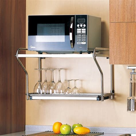 microwave wall shelf stainless steel layer microwave oven wall mount
