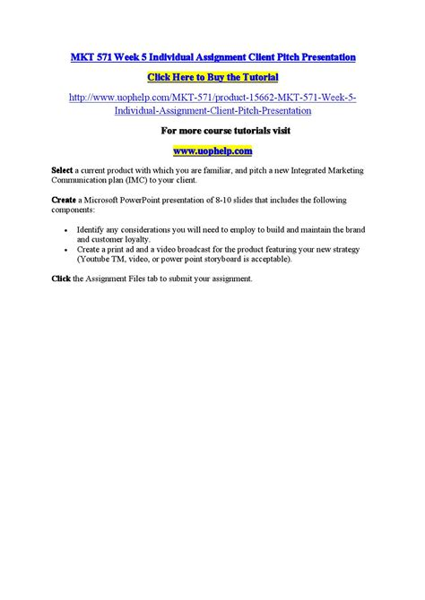 mkt 571 week 5 individual assignment client pitch