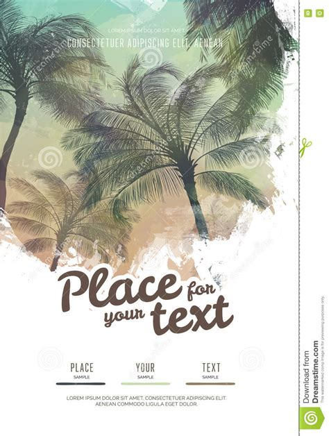 summer poster or flyer design template with palm trees silhouettes modern style stock