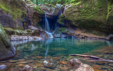 Nature Landscape Waterfall Rock Pond Moss Oregon