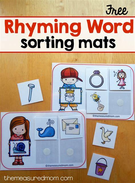 sorting mats  rhyming words  measured mom