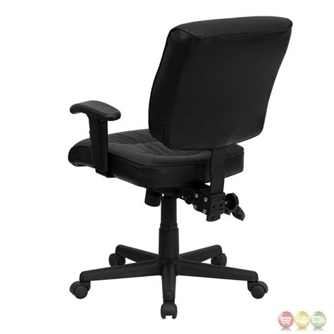 mid back black leather multi functional task chair with