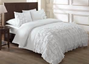chezmoi collection ella 3 piece waterfall ruffle comforter set cal king white ebay