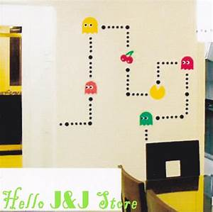pacman game mural art wall stickers vinyl decal home kids With pacman wall decals gamers room ideas