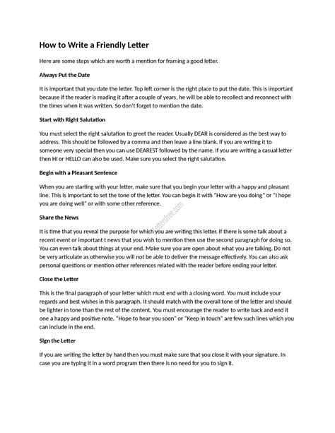write  friendly letter  sample sample