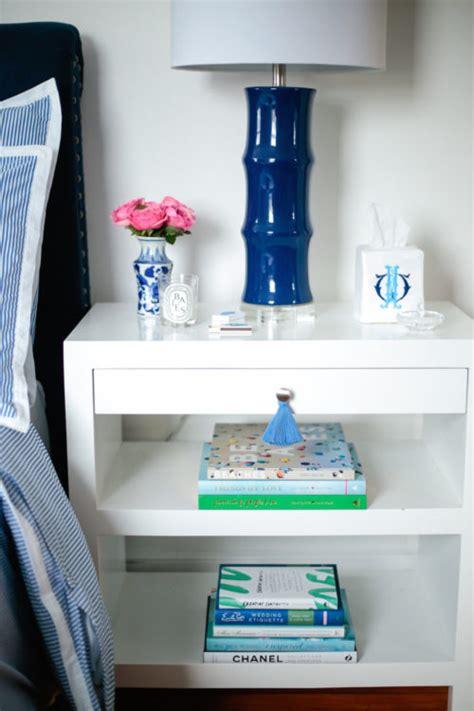 bedside table  ginger jar matches  monogrammed