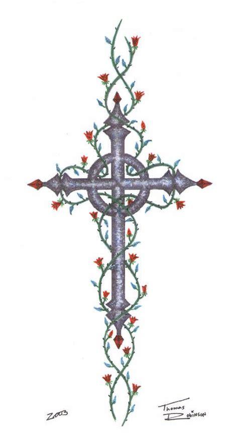 celtic cross  roses    cross   vines
