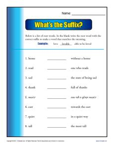 what s the suffix printable 3rd grade worksheets