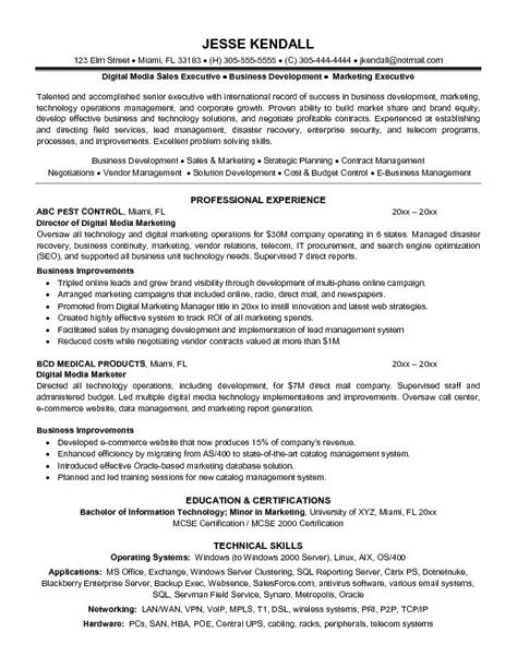 exle digital media marketer resume free sle