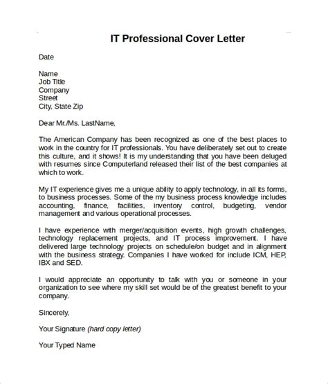 Sle Cover Letter Information Technology by Sle Information Technology Cover Letter Template 8