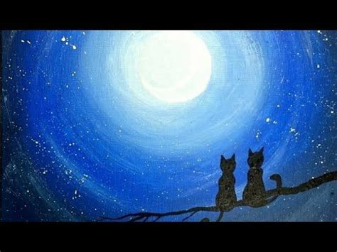 night sky silhouette painting beginners lesson diy