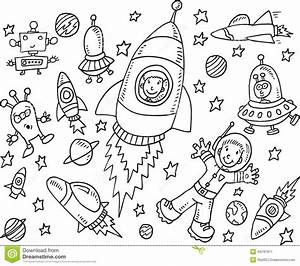 Outer Space Doodle Set stock vector. Image of moon ...