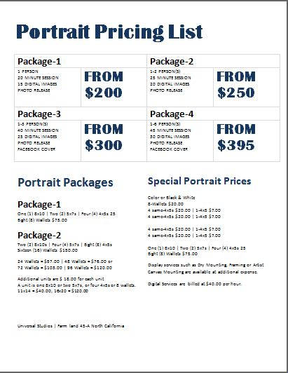 photography pricing photography price list template word document templates