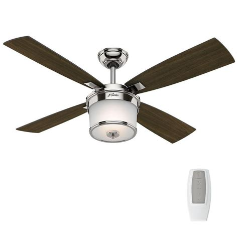 universal fan light kit hunter kimball 52 in led indoor polished nickel ceiling