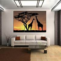 home wall art HD Canvas Print Home Decor Wall Art Picture Poster Big Tree Giraffe +Wood Framed | eBay