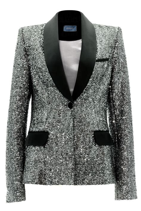 silver sequin l shade silver sequins tuxedo jacket stefanie renoma