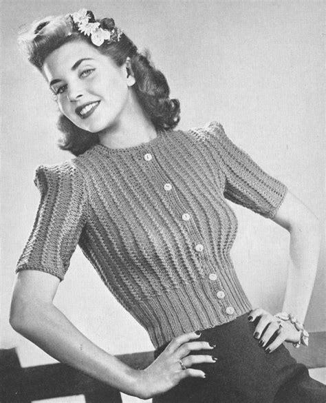 Sweater Girl Photos Vintage  Gray Cardigan Sweater