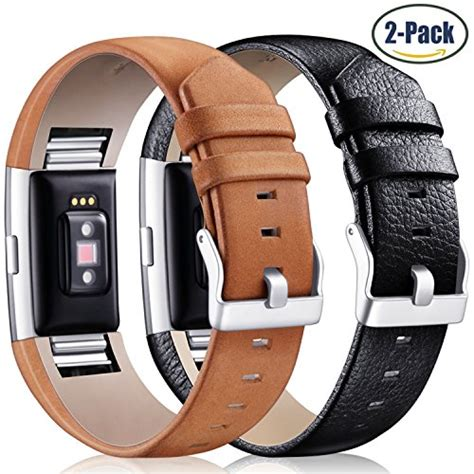 black brown leather 2 pack wristband band accessories for fitbit charge 2 ebay