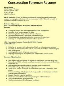 construction foreman resume template free